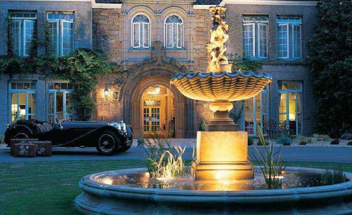 fountain outside longueville manor hotel jersey