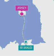 route map of st malo to jersey by ferry