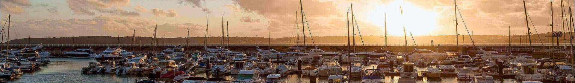 Sun setting over Jersey marina