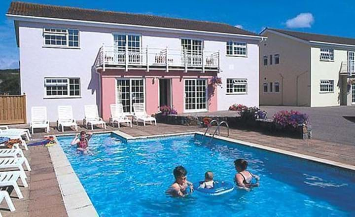 outdoor pool at rocquaine bay apartments guernsey channel islands