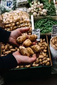 jersey royal potatoes in sacks for sale at a market