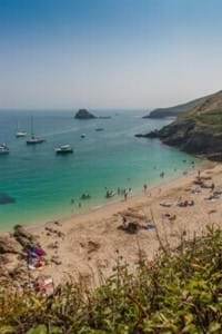 Belvoir beach in herm off guernsey with golden sands and blue seas
