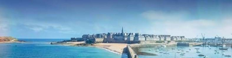 blue sea and blue sky with st malo brittany