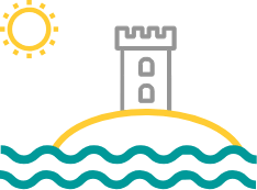 icon ashore with castle and sun