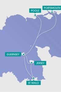 map showing ferry routes condor jersey guernsey st malo poole portsmouth