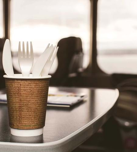 plastic free cup onboard condor ferries vegware to reduce carbon