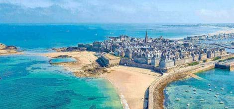 st malo brittany surrounded by blue sea and blue sky