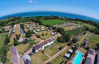 green fields and tents in rozel camping park in jersey