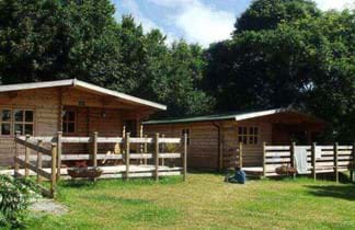 wooden cabin and green grass at la bailloterie camping guernsey