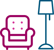 an armchair and lampshade icon