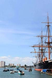 HMS warrior portsmouth at dockyard in the uk